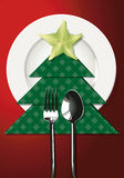 Vector illustrator of Christmas table setting. Royalty Free Stock Photo