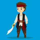 Vector Illustrator del traje del pirata del muchacho que lleva ilustración del vector