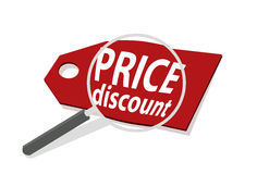 Vector illustrator magnify price discount sale cheap concept Stock Photography