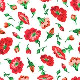 Vector illustrator of red flowers and buttons seamless pattern. Vector illustrator of red flowers and buttons with green leaves seamless pattern on white Stock Photo
