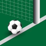 Vector illustrator of soccer ball on the goal line Royalty Free Stock Photography