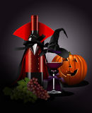 Vector illustrator of Wine glass and Bottle in Dracula and witch Stock Image