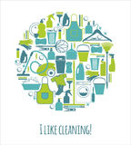 Vector illustratuon of cleaning. Royalty Free Stock Photos
