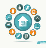 Vector illustratuon of cleaning. Royalty Free Stock Images