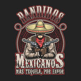 Vector illustrtion of mexican bandit print template. Man with a guns in hands in sombrero with text Royalty Free Stock Photos