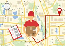 Vector illutration of fast delivery service. Express delivery co. Service of fast delivery. Express delivery courier service. Man courier with box in his hands Royalty Free Stock Photography