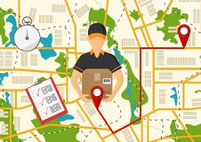 Vector illutration of fast delivery service. Express delivery co. Service of fast delivery. Express delivery courier service. Man courier with box in his hands Stock Image