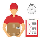 Vector illutration of fast delivery service. Express delivery. Service of fast delivery. Express delivery courier service. Man courier with box in his hands Stock Photo