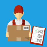 Vector illutration of fast delivery service. Express delivery. Service of fast delivery. Express delivery courier service. Man courier with box in his hands Royalty Free Stock Photo