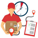 Vector illutration of fast delivery service. Express delivery. Service of fast delivery. Express delivery courier service. Man courier with box in his hands Royalty Free Stock Photography