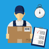 Vector illutration of fast delivery service. Express delivery. Service of fast delivery. Express delivery courier service. Man courier with box in his hands Royalty Free Stock Photos