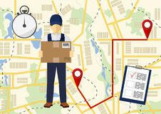Vector illutration of fast delivery service. Express delivery. Service of fast delivery. Express delivery courier service. Man courier with box in his hands Stock Image