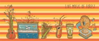 Vector a ilustração brilhante da música ao vivo com instrumento musical Fotos de Stock