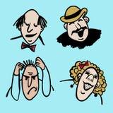Vector a ilustração cômica das emoções dos povos Foto de Stock Royalty Free