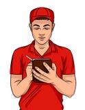 Vector a ilustração colorida de um indivíduo novo em um uniforme da entrega com uma pena e um caderno ilustração do vetor