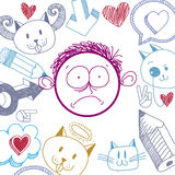Vector a ilustração colorida do menino triste dos desenhos animados isolado em especs. Foto de Stock