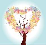 Árvore do coração da flor Imagem de Stock Royalty Free