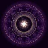 Vector a ilustração com círculo do horóscopo, símbolos do zodíaco e planetas da astrologia dos pictograma no fundo estrelado do c ilustração do vetor