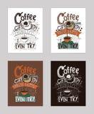 Vector a ilustração com citações inspiradas do motivationg sobre o amor ao café no cezve ilustração royalty free