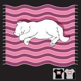 Vector a ilustração com gato do sono em um listrado Fotos de Stock Royalty Free