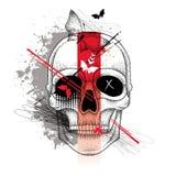 Vector a ilustração com a meio cara e crânio pontilhado da mulher, linhas abstratas, ampulheta e manchas no vermelho e no preto Fotos de Stock Royalty Free
