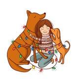 Vector a ilustração com menina e cães e festões Foto de Stock Royalty Free