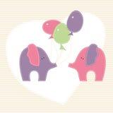 Vector a ilustração com os dois elefantes pequenos e colorido Imagem de Stock