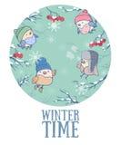 Vector a ilustração com pássaros bonitos em um tampão feito malha Feriados de inverno Foto de Stock