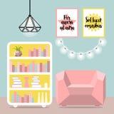 Vector a ilustração com poltrona, luminaire, lâmpada e cômoda Foto de Stock Royalty Free