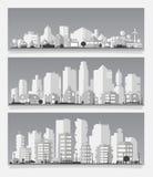 Vector a ilustração com uma cidade no estilo material de papel ilustração royalty free