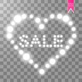Vector a ilustração com venda de incandescência do texto e com corações das luzes Foto de Stock