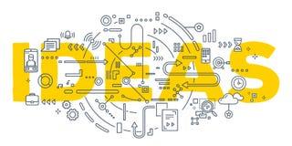 Vector a ilustração criativa da tipografia da rotulação da palavra das ideias Foto de Stock