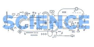 Vector a ilustração criativa do typograph da rotulação da palavra da ciência Imagens de Stock Royalty Free