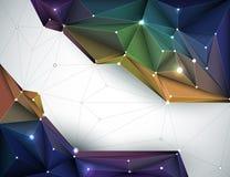 Vector a ilustração 3D abstrato geométrica, poligonal, teste padrão do triângulo na forma da estrutura da molécula ilustração royalty free