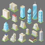 Vector a ilustração 3d isométrica das construções, arranha-céus ilustração stock
