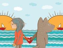 Vector a ilustração da amizade entre a menina e o cão Fotografia de Stock