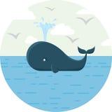 Vector a ilustração da baleia azul com o mar redondo Fotografia de Stock