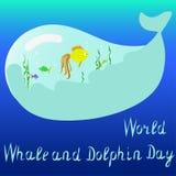 Vector a ilustração da baleia do mundo e do dia do golfinho ilustração stock