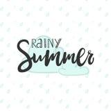 Vector a ilustração da caligrafia que rotula o verão chuvoso para o cartão imagens de stock