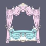Vector a ilustração da cama barroco com estilo tirado disponivel feito dossel do esboço ilustração stock