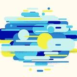 Vector a ilustração da composição dinâmica feita de linhas coloridas das formas arredondadas ilustração do vetor