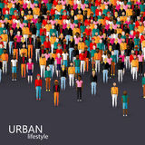 Vector a ilustração da comunidade masculina com uma multidão de indivíduos e de homens conceito urbano do estilo de vida Fotos de Stock