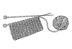 Vector a ilustração da confecção de malhas e da bola do fio com agulhas ilustração do vetor