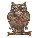 Vector a ilustração da coruja decorativa bonita com muito de Imagens de Stock Royalty Free