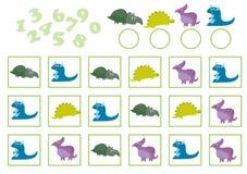 Vector a ilustração da educação que conta o jogo com dinossauro dos desenhos animados ilustração do vetor