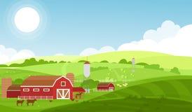 Vector a ilustração da exploração agrícola com as grandes campos, vacas e carneiros, animais de exploração agrícola no fundo boni ilustração stock