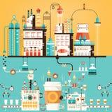 Vector a ilustração da fábrica do café, indústria do café Imagens de Stock Royalty Free