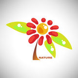 Vector a ilustração da flor colorida abstrata da camomila com folha Fotos de Stock