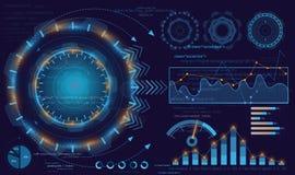 Vector a ilustração da indicação digital, a estatística e os dados, informação infographic Fundo de HUD, infographic ilustração stock