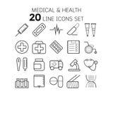 Vector a ilustração da linha fina ícones para médico e Fotografia de Stock Royalty Free